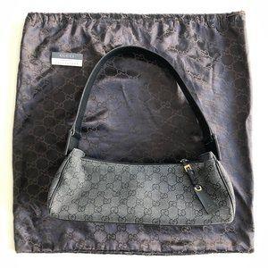 GUCCI Shoulder bag Black Jacquard Canvas Handbag